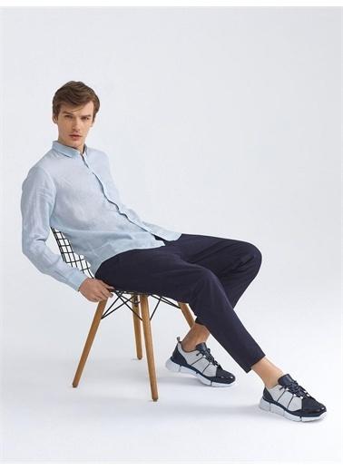 Xint XINT %100 Keten Slim Fit Basic Gömlek Mavi